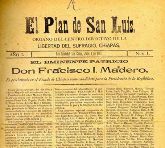 Después de escapar de la cárcel, Madero llega a los Estados Unidos, desde donde proclama el Plan de San Luis.
