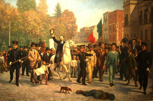 Madero hace su entrada triunfal en la ciudad de México.