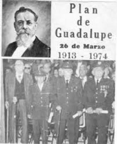 Venustiano Carranza, gobernador de Coahuila, lanza el Plan de Guadalupe. convocando a la rebelión contra el gobierno huertista y formando el ejército Constitucionalista.