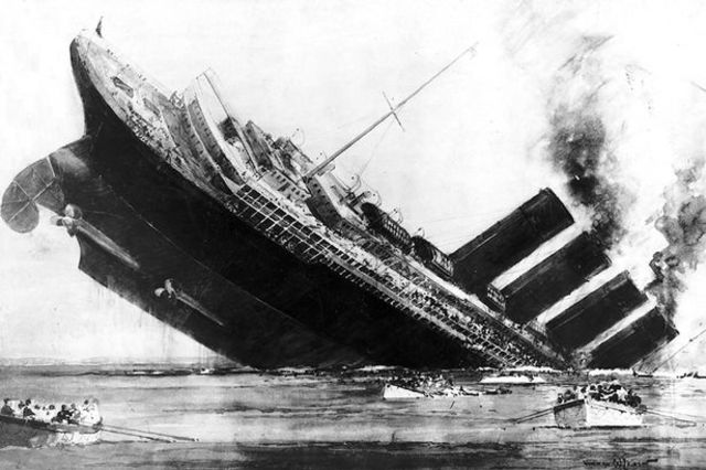 """The passenger ship """"Lusitania"""" is sunk by German U-boat"""