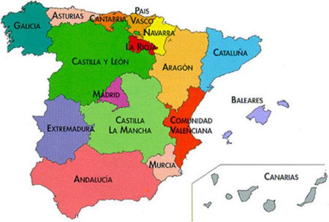 En España descentralizaciòn de las Comunidades Autònomas Españolas
