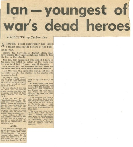 Ex pupil is youngest fatality in falkland's war.