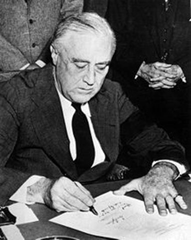The United States declares war on Japan
