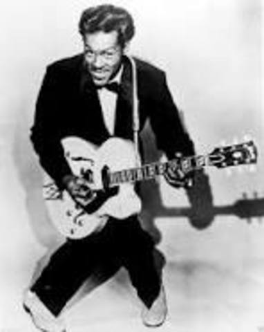 """Chuck Berry records """"Maybellene,"""" launching his career as a great and highly influential rock songwriter and guitarist."""