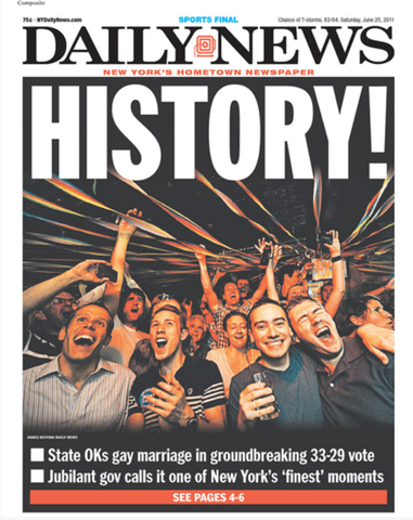 New York State legalizes gay marriage