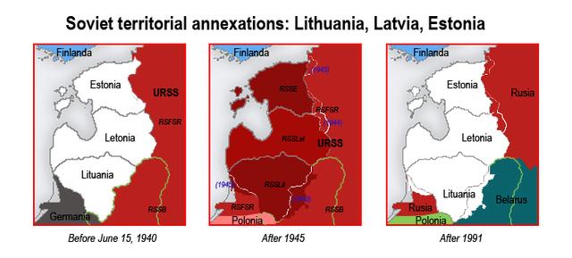 Soviets occupy Lithuania, Latvia and Estonia.
