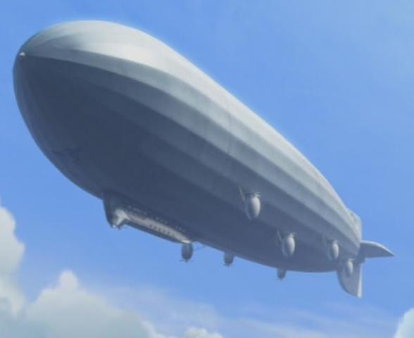 Carl takes Muntz's dirigible back to the city