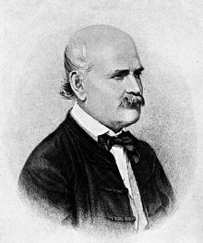 Semmelweis, establece la etiología de las fiebres puerperales.