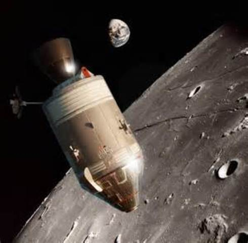 First manned orbit of moon (USA)