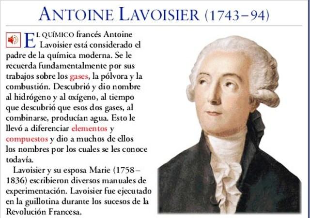 Lavoisier publica Elementos de química