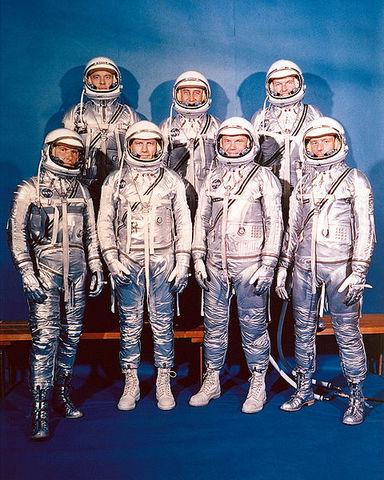 "The ""Mercury Seven"" astronauts are announced by NASA"