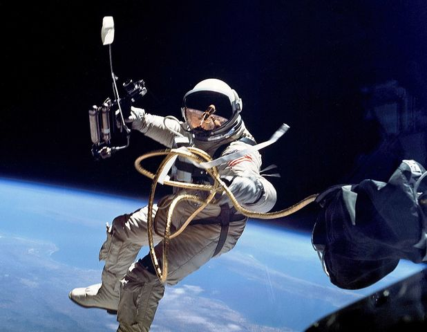 Ed White perfroms the first American spacewalk
