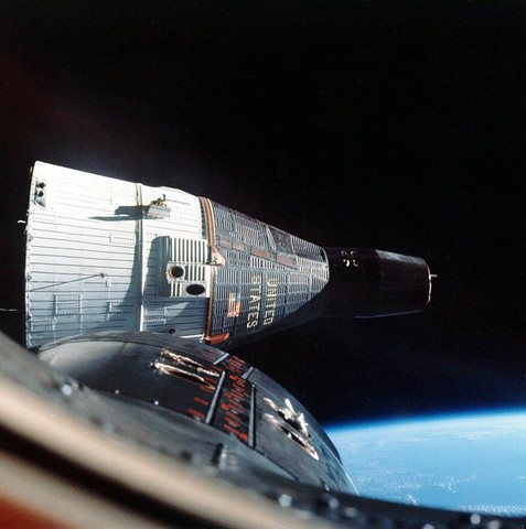 Gemini 6 makes the first space rendezvous with Gemini 7