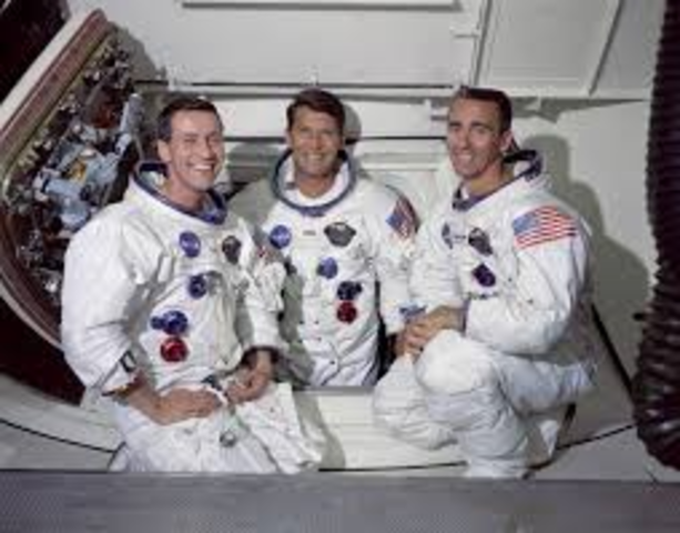 The crew of Apollo 7 begin a 10 day mission to study the new spacecraft