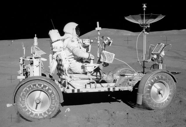 Apollo 15 astronauts drive the first moon rover