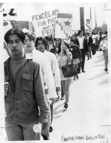 10,000 Chicanos boycott schools in Los Angeles demanding bilingual education and more Latino teachers.