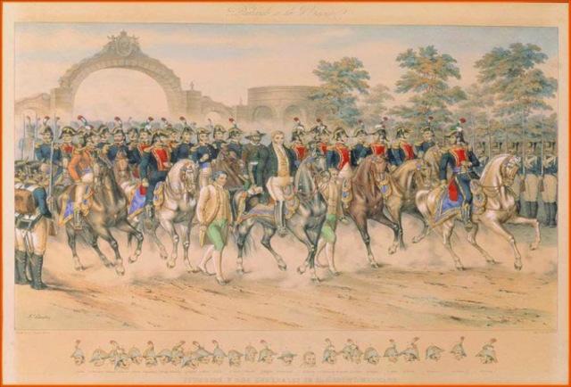 Iturbide proclama el plan de Iguala y organiza el ejército Trigarante que defenderá, las tres garantías: religión, independencia y unión.