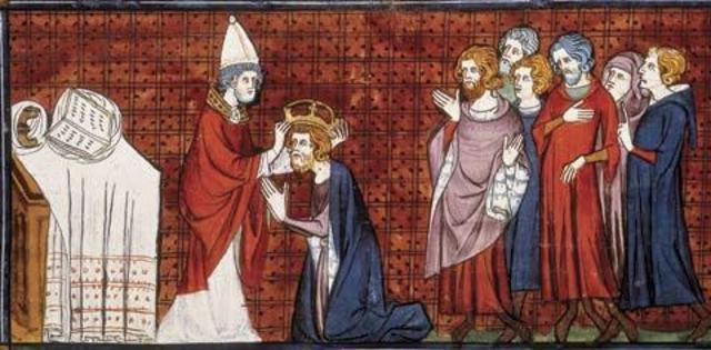 O papa Leão III coroa Carlos Magno imperador dos romanos.