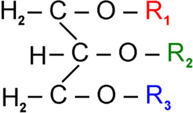 Triastearina inorgánica igual a una obtenida de ácidos grasos.