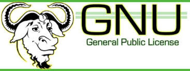 Primera versión de la licencia GNU GPL.