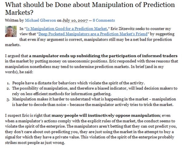 """""""What should be done about manipulation of prediction markets?"""" Michael Giberson"""