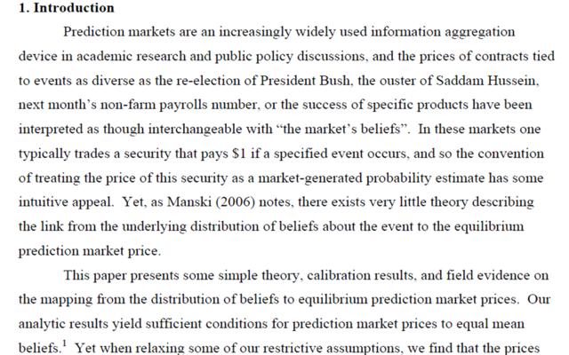 """""""Interpreting prediction markets as probabilities"""", Justin Wofers et Eric Zitzewitz"""
