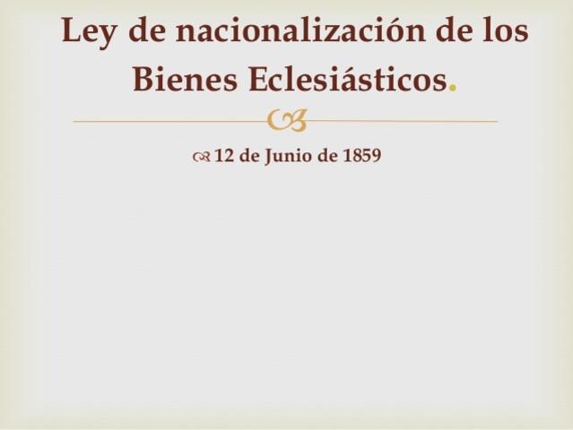 Ley de Nacionalización de bienes del Clero 1859