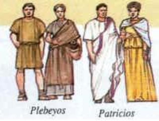 La sociedad romana se divida en patricos y plebeyos