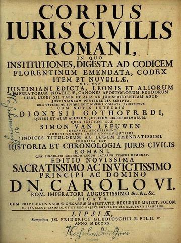 Codex repetitae praelectionis. (Corpus Iuris Civilis)