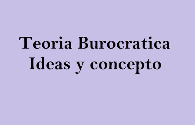 teoria de la burocracia-Ideas y concepto
