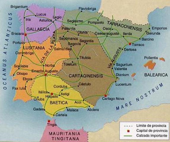 197 a.c. La peninsula iberica es organizada en provincias romanas