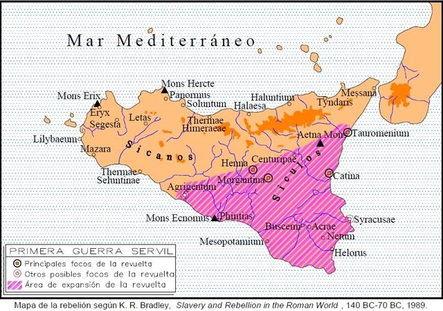 135 a.c. Primera Guerra Servil (en Sicilia)