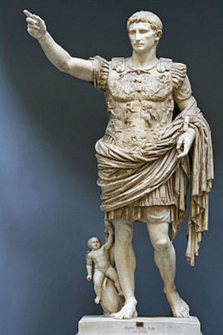 27 a.c.  Octavio recibe el nombre de Augusto Principe