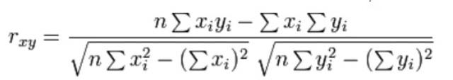 Fórmula del coeficiente de correlación de Pearson