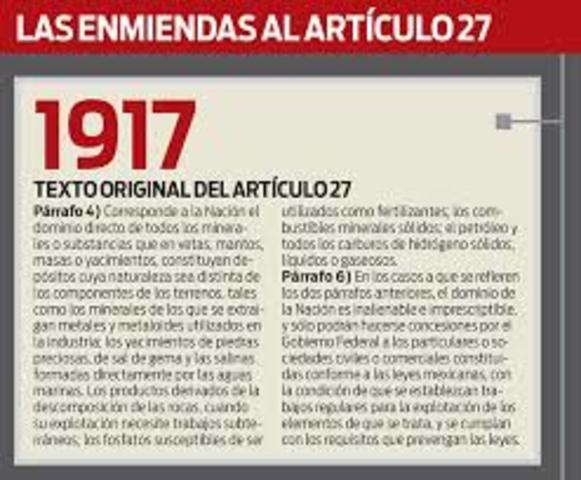 articulo 27 constitucional de 1917 establece las acciones de dotación y restitución