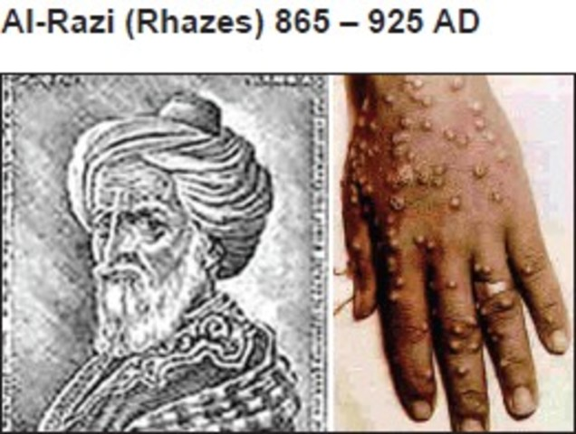 Persian Doctor named Rhazes discovers difference between small pox and measles