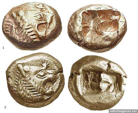 620 a. C. Monedas de Oro y Plata