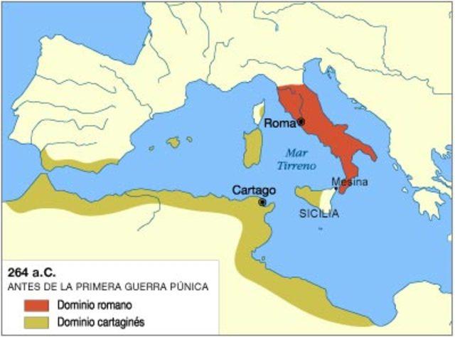 Primer guerra púnica en 264 a.C.