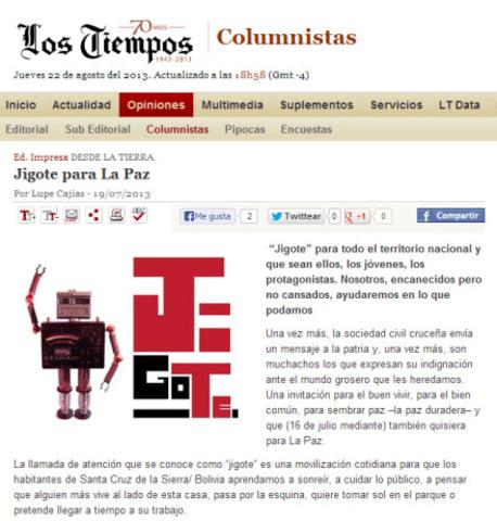 Lupe Cajías: Jigote para La Paz