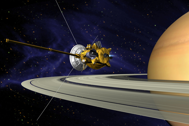 Cassini arrives at Saturn and begins to pass Titan and other moons.