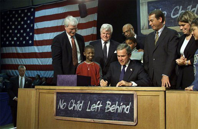 The No Child Left Behind Act is signed by President Bush