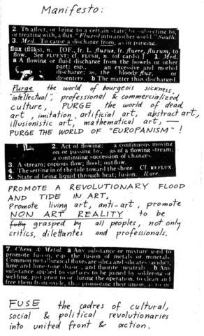 George Maciunas publishes the Fluxus Manifesto