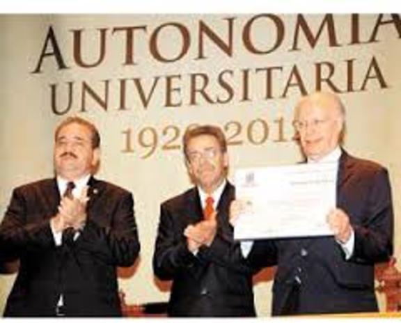Autonomía otorgada a la UNIVERSIDAD NACIONAL AUTONOMA DE MEXICO
