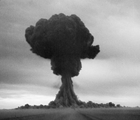 The Soviet Union tests its first atomic bomb to become the world's second nuclear power.