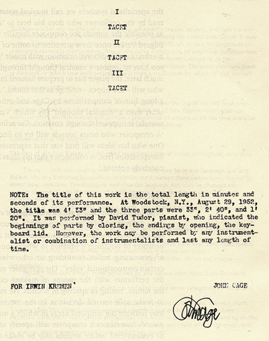 John Cage composes 4'33''