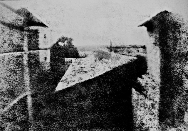 Joseph Niepce makes first photographic image with camera obscura