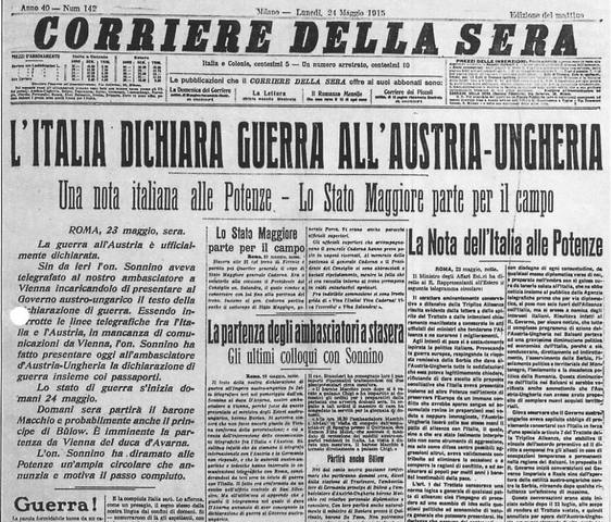 L'Italia entra in guerra contro l' Austria-Ungheria