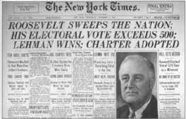 Roosevelt presidente, varo New Deal