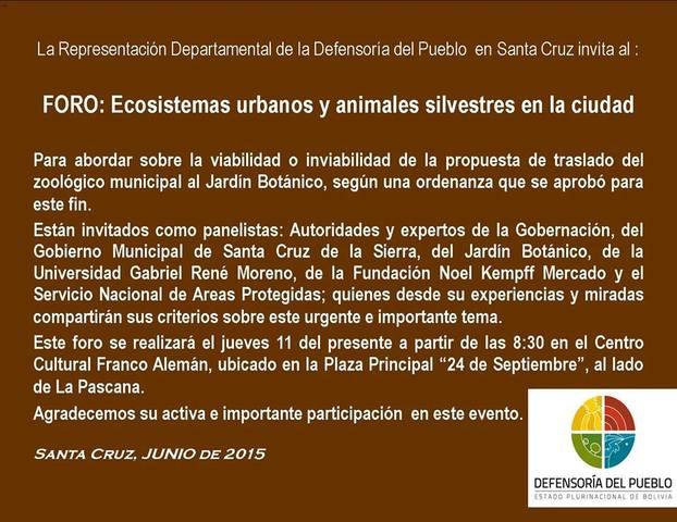 FORO ECOSISTEMA URBANOS Y ANIMALES SILVESTRES