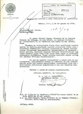 Carta de Estebán Garcìa
